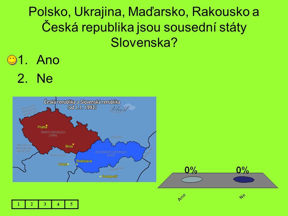 Polsko, Ukrajina, Maďarsko, Rakousko a Česká republika jsou sousední státy Slovenska