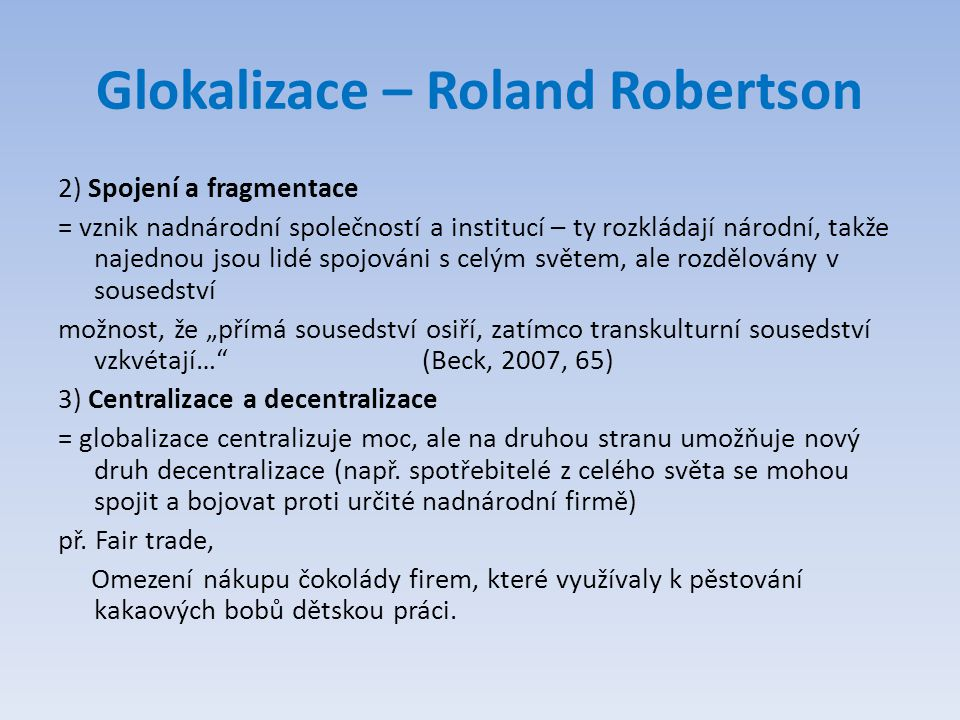 Glokalizace – Roland Robertson