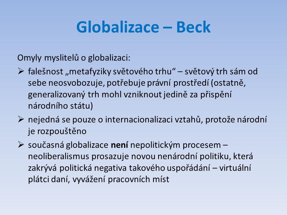 Globalizace – Beck Omyly myslitelů o globalizaci: