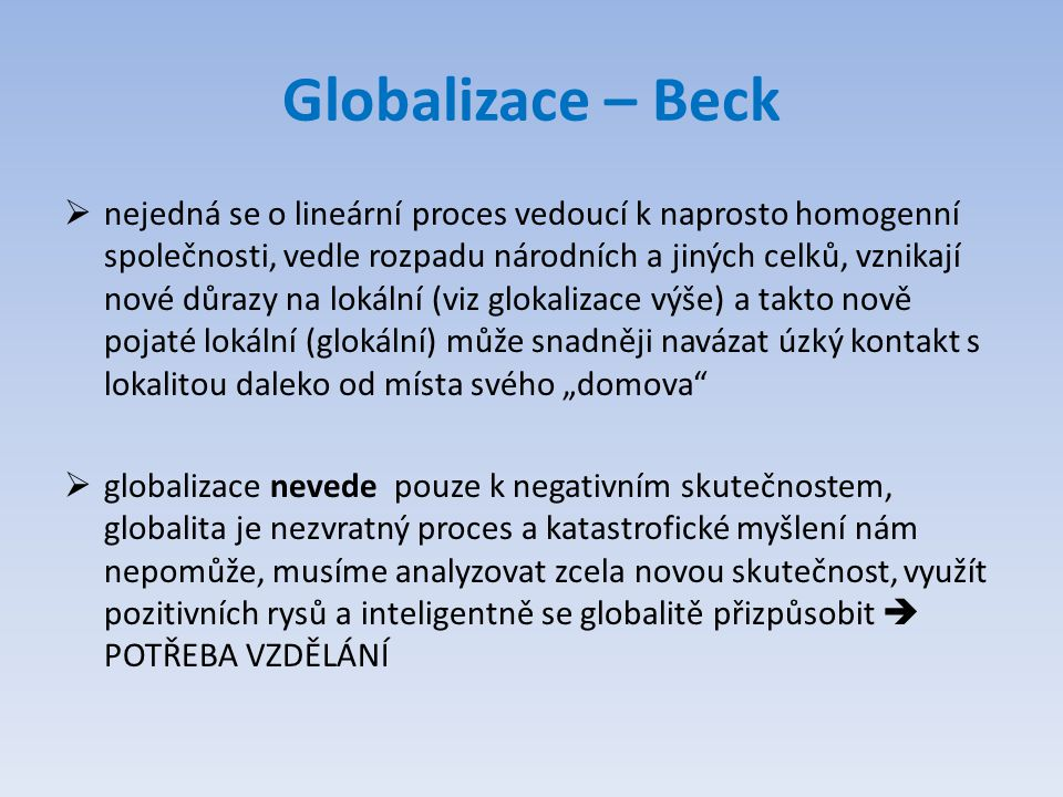 Globalizace – Beck