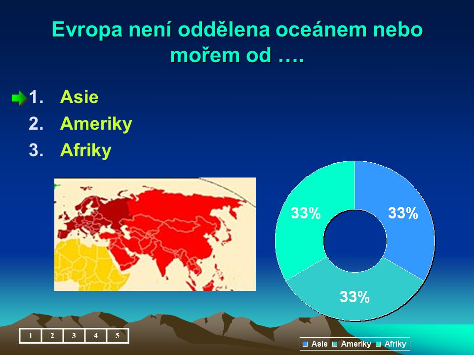 Evropa není oddělena oceánem nebo mořem od ….