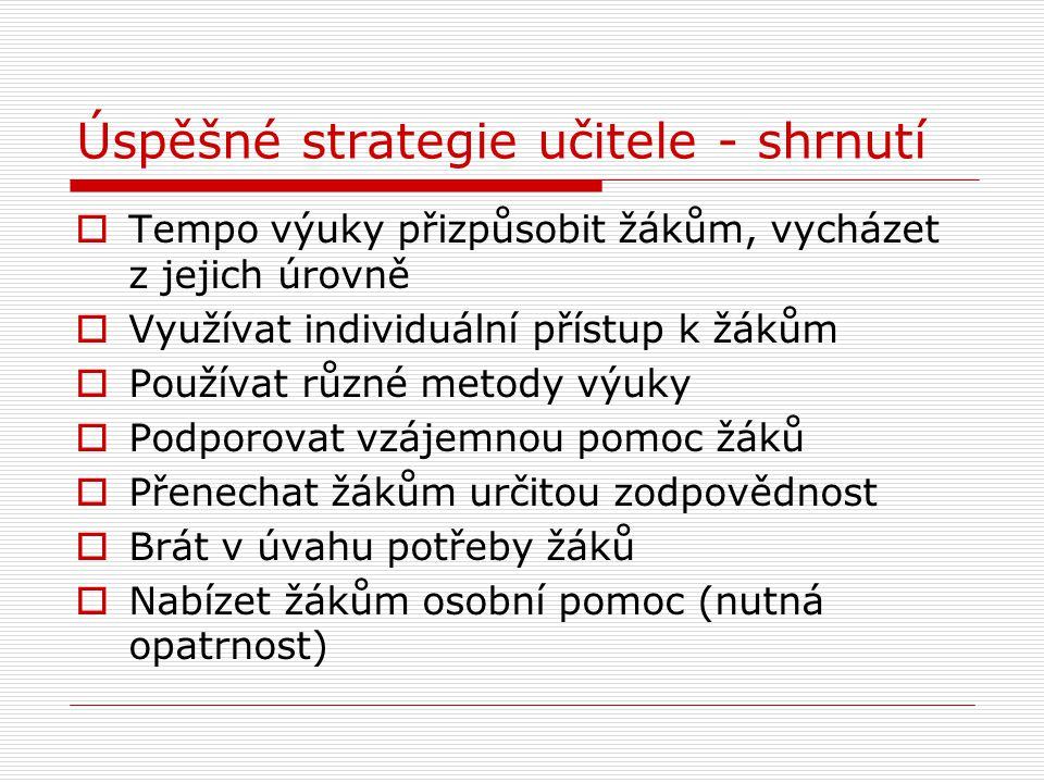 Úspěšné strategie učitele - shrnutí