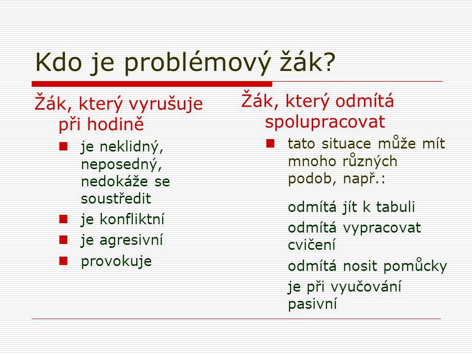 Kdo je problémový žák Žák, který odmítá spolupracovat