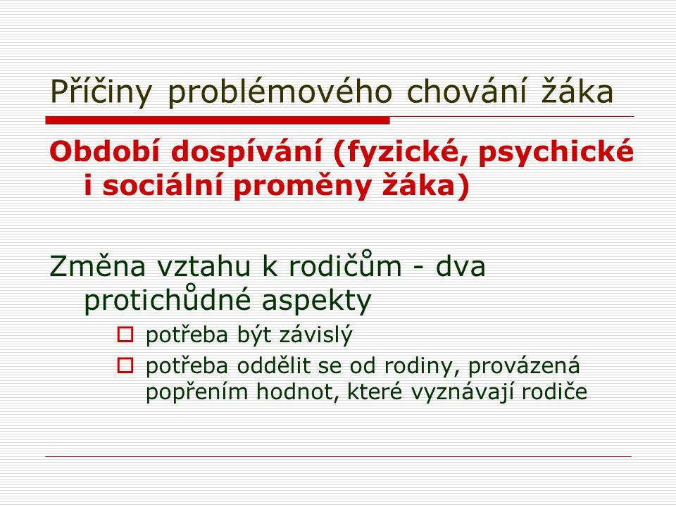 Příčiny problémového chování žáka