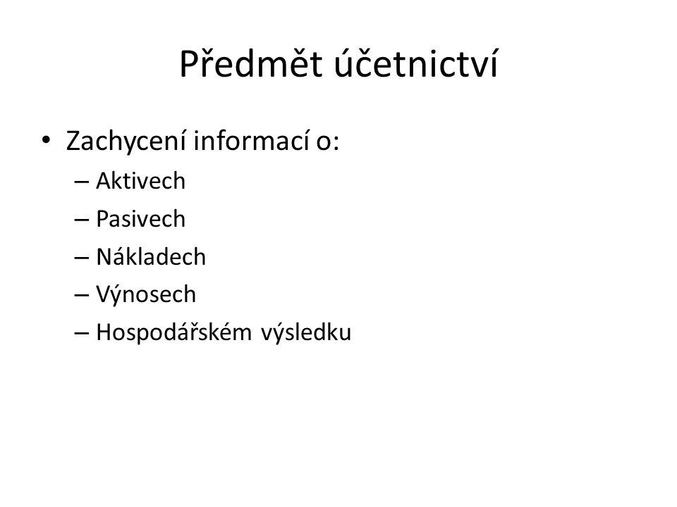 Předmět účetnictví Zachycení informací o: Aktivech Pasivech Nákladech