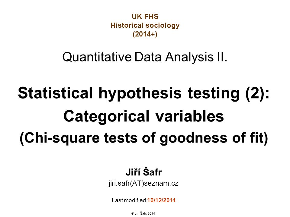 Quantitative Data Analysis II.