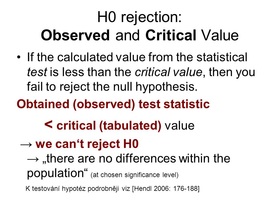 H0 rejection: Observed and Critical Value