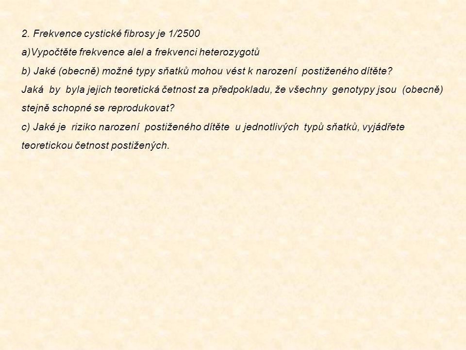 2. Frekvence cystické fibrosy je 1/2500