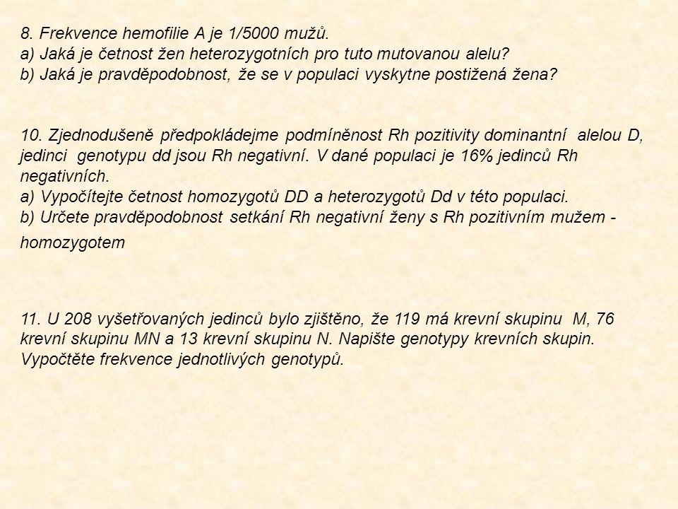 8. Frekvence hemofilie A je 1/5000 mužů.