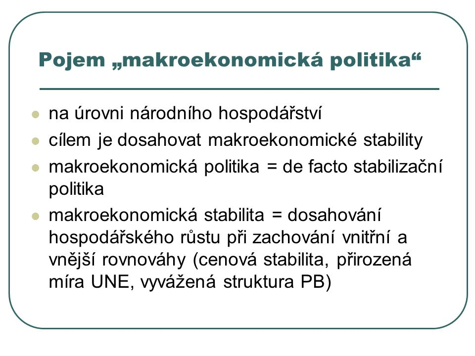 "Pojem ""makroekonomická politika"