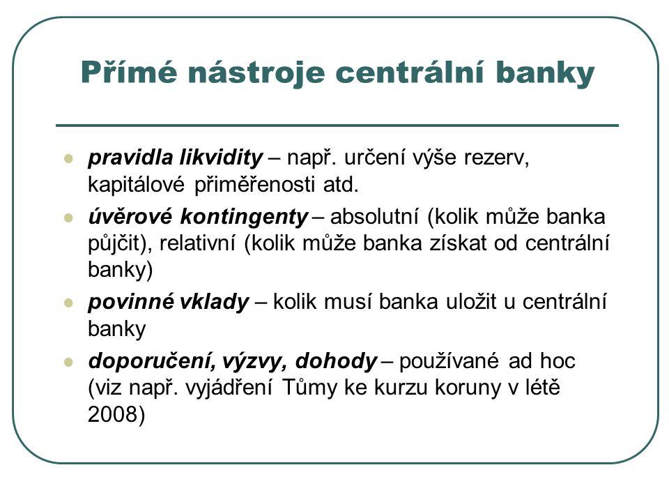 Přímé nástroje centrální banky