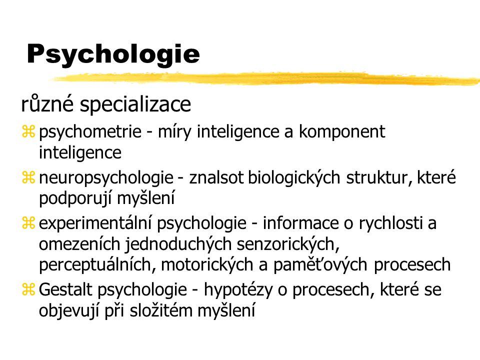 Psychologie různé specializace