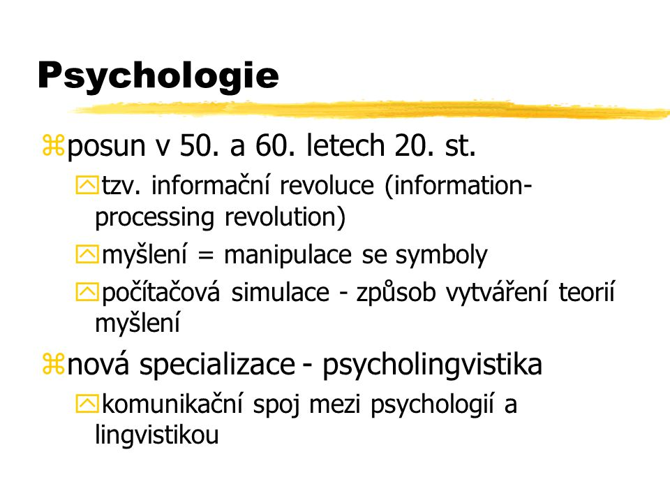 Psychologie posun v 50. a 60. letech 20. st.