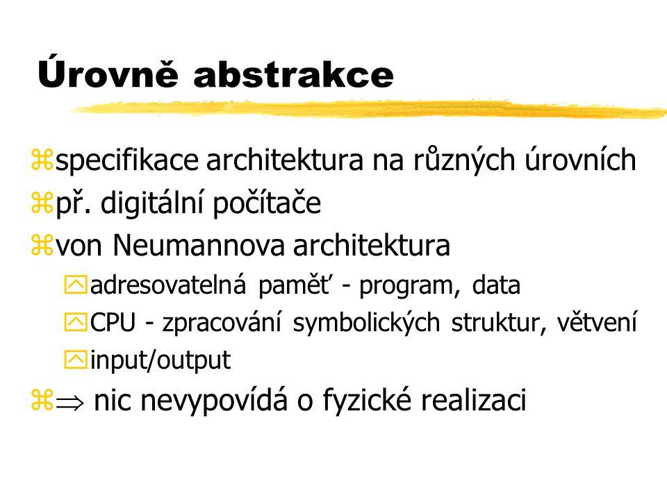 Úrovně abstrakce specifikace architektura na různých úrovních