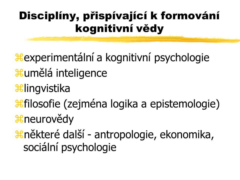 Disciplíny, přispívající k formování kognitivní vědy