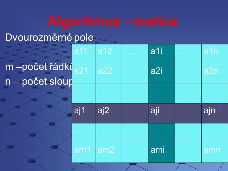 Algoritmus - matice Dvourozměrné pole m –počet řádků n – počet sloupců