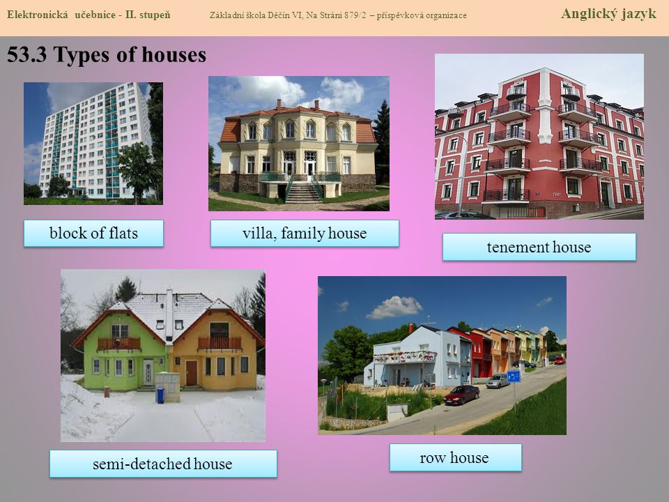 53.3 Types of houses block of flats villa, family house tenement house