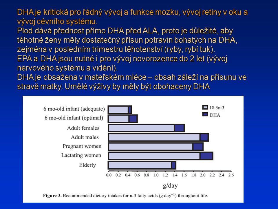 DHA je kritická pro řádný vývoj a funkce mozku, vývoj retiny v oku a vývoj cévního systému.