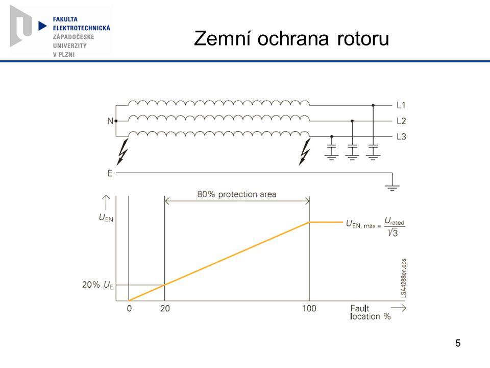 Zemní ochrana rotoru V případě zemního spojení jedné fáze teče kapacitní proud jako u vedení – nechává se rezerva 20 % (necitlivost)