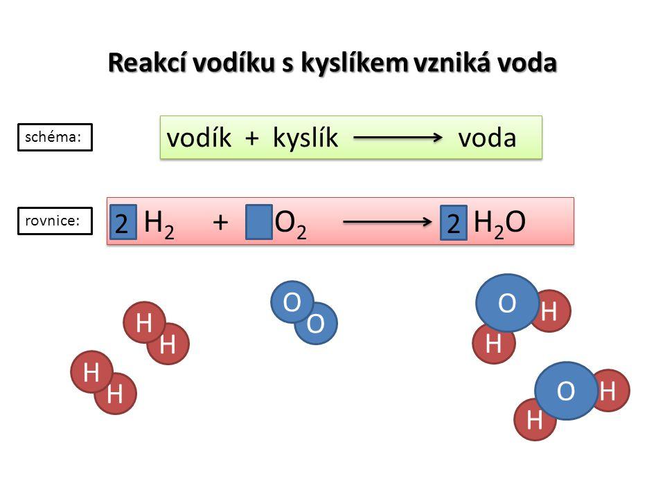 Reakcí vodíku s kyslíkem vzniká voda