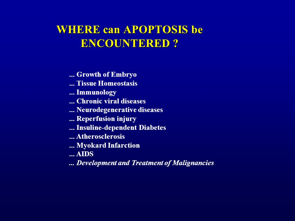 WHERE can APOPTOSIS be ENCOUNTERED