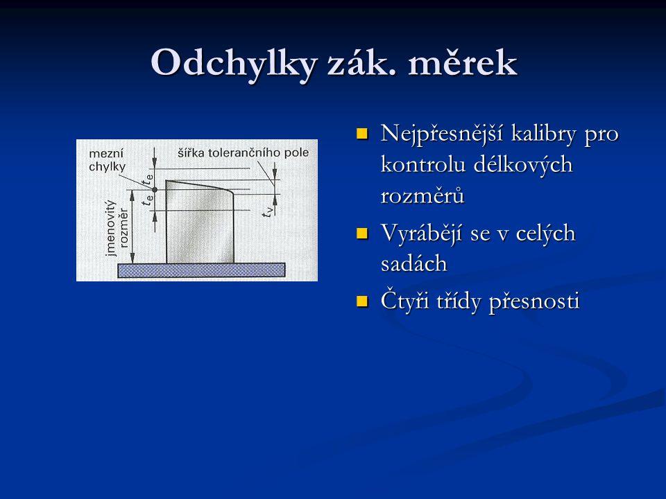 Odchylky zák. měrek Nejpřesnější kalibry pro kontrolu délkových rozměrů. Vyrábějí se v celých sadách.