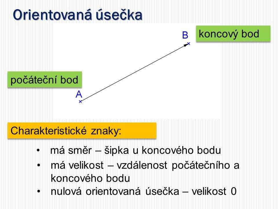 Orientovaná úsečka koncový bod počáteční bod Charakteristické znaky: