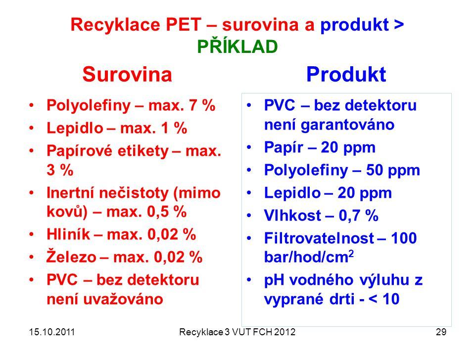 Recyklace PET – surovina a produkt > PŘÍKLAD