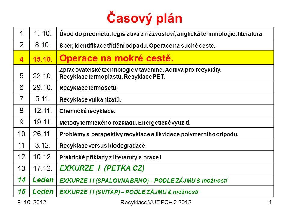 Časový plán Operace na mokré cestě. 1 1. 10. 2 8.10. 4 15.10. 5 22.10.