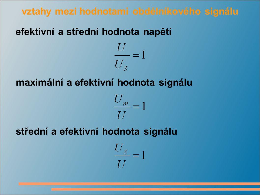 vztahy mezi hodnotami obdélníkového signálu