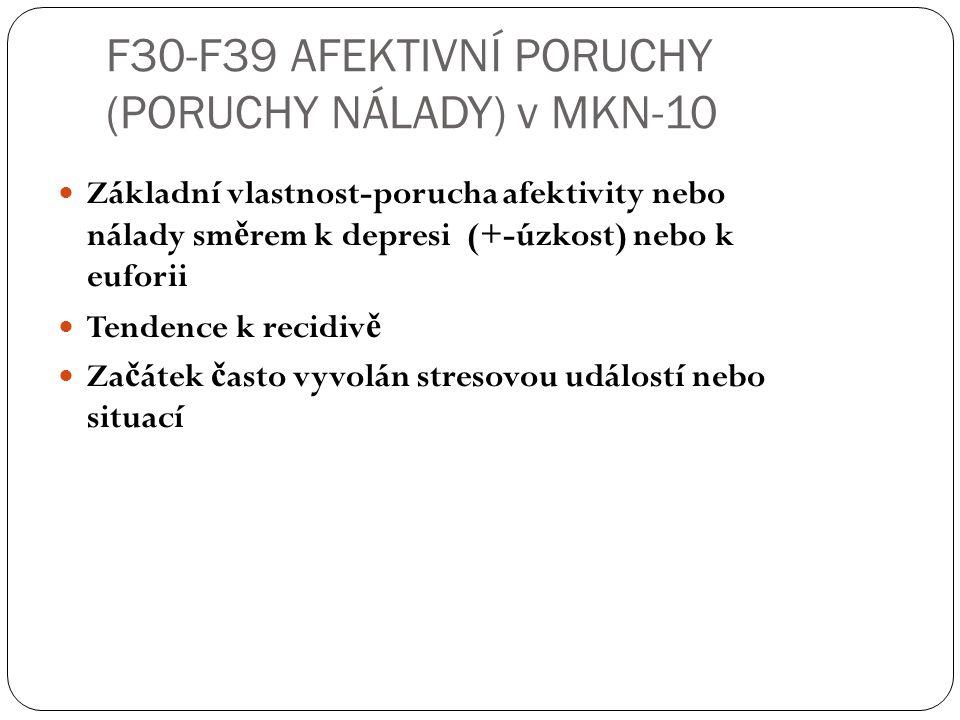 F30-F39 AFEKTIVNÍ PORUCHY (PORUCHY NÁLADY) v MKN-10