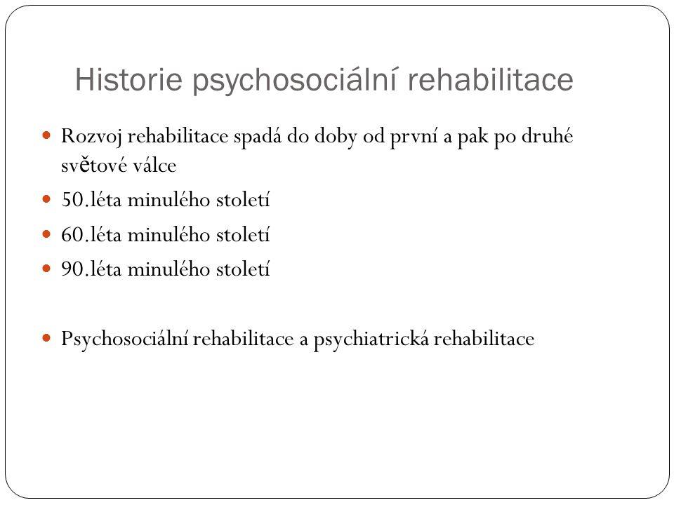 Historie psychosociální rehabilitace