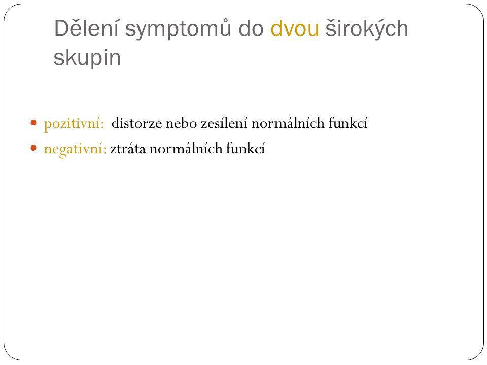 Dělení symptomů do dvou širokých skupin