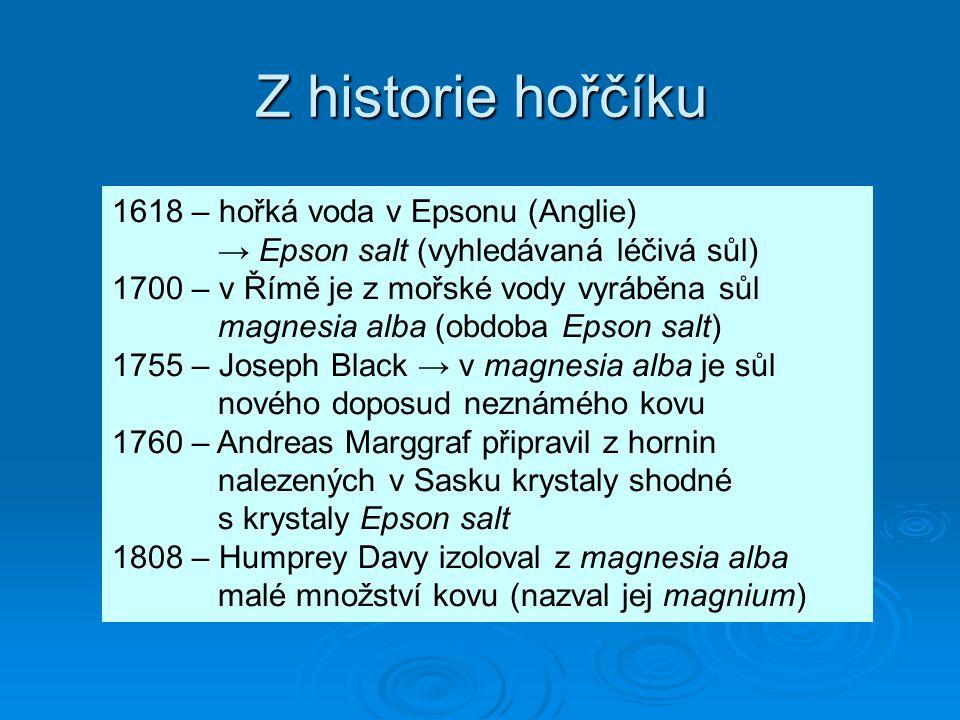 Z historie hořčíku 1618 – hořká voda v Epsonu (Anglie) → Epson salt (vyhledávaná léčivá sůl)