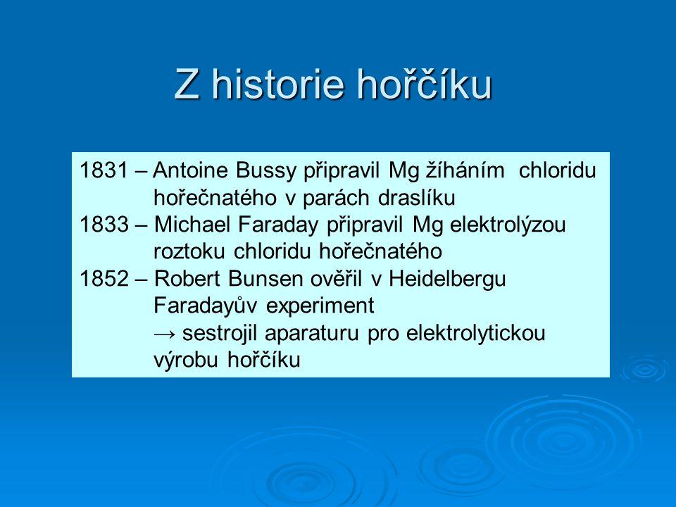 Z historie hořčíku 1831 – Antoine Bussy připravil Mg žíháním chloridu hořečnatého v parách draslíku.