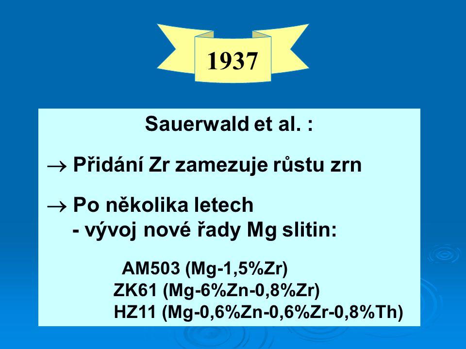 1937 Sauerwald et al. : ZK61 (Mg-6%Zn-0,8%Zr)
