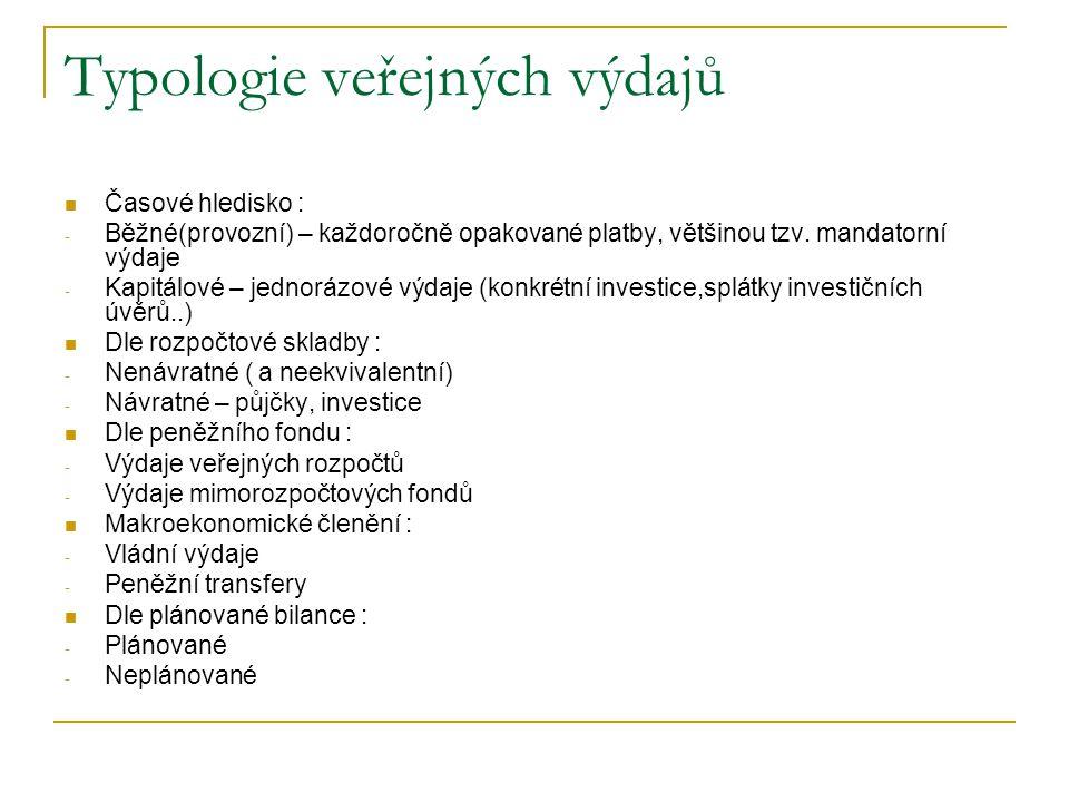 Typologie veřejných výdajů
