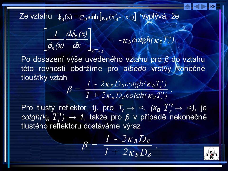 Ze vztahu vyplývá, že Po dosazení výše uvedeného vztahu pro β do vztahu této rovnosti obdržíme pro albedo vrstvy konečné tloušťky vztah.