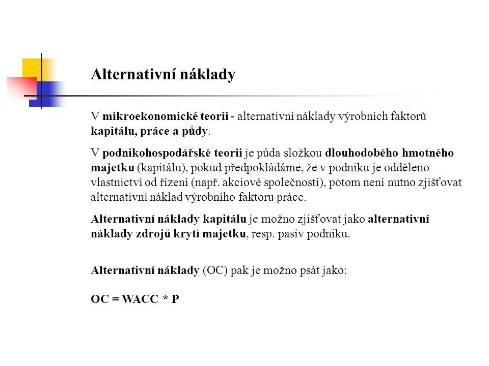 Alternativní náklady V mikroekonomické teorii - alternativní náklady výrobních faktorů kapitálu, práce a půdy.