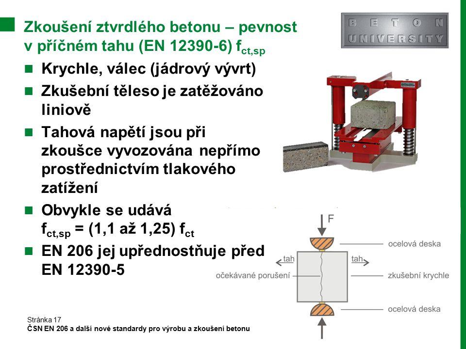 Zkoušení ztvrdlého betonu – pevnost v příčném tahu (EN 12390-6) fct,sp
