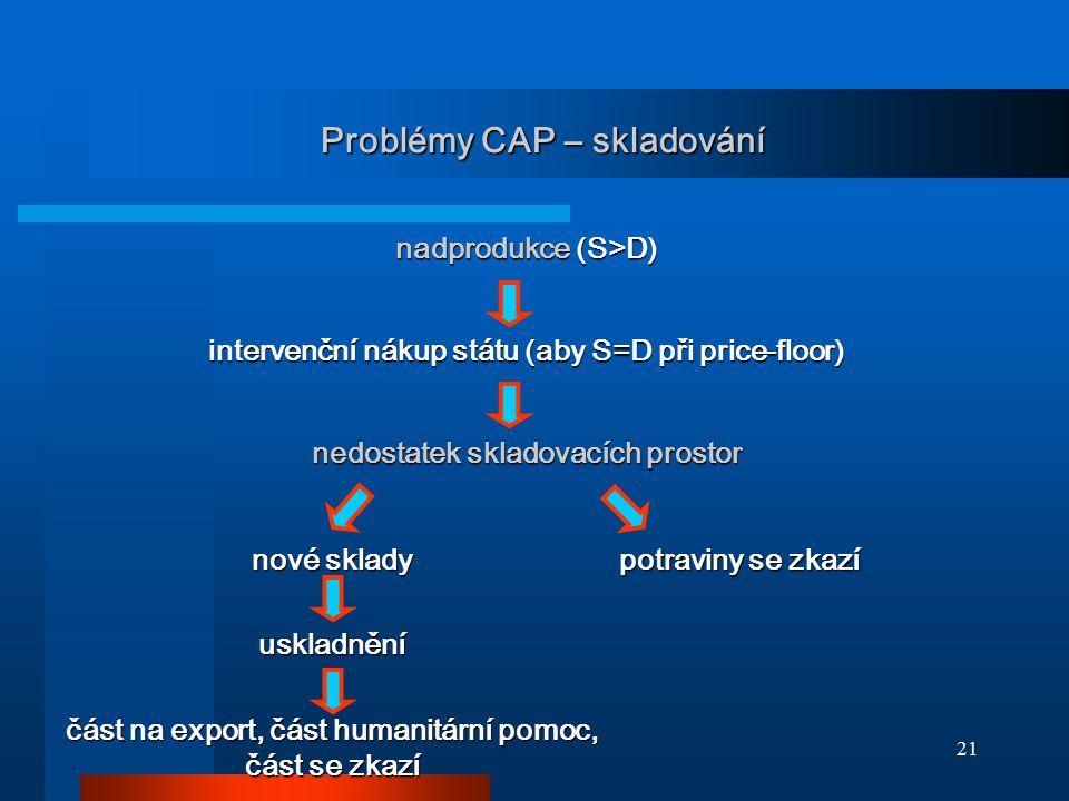 Problémy CAP – skladování