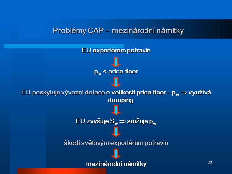 Problémy CAP – mezinárodní námitky