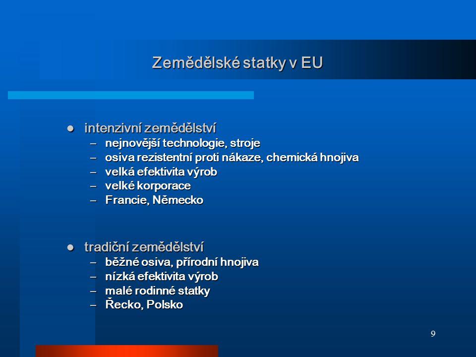 Zemědělské statky v EU intenzivní zemědělství tradiční zemědělství