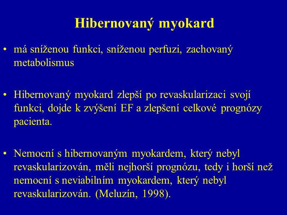 Hibernovaný myokard má sníženou funkci, sníženou perfuzi, zachovaný metabolismus.