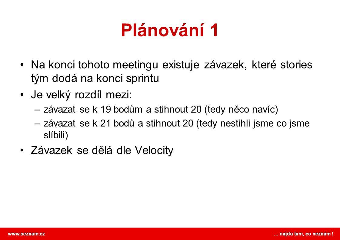 Plánování 1 Na konci tohoto meetingu existuje závazek, které stories tým dodá na konci sprintu. Je velký rozdíl mezi: