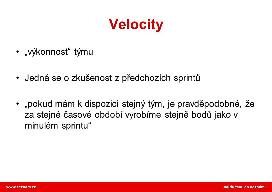 """Velocity """"výkonnost týmu Jedná se o zkušenost z předchozích sprintů"""