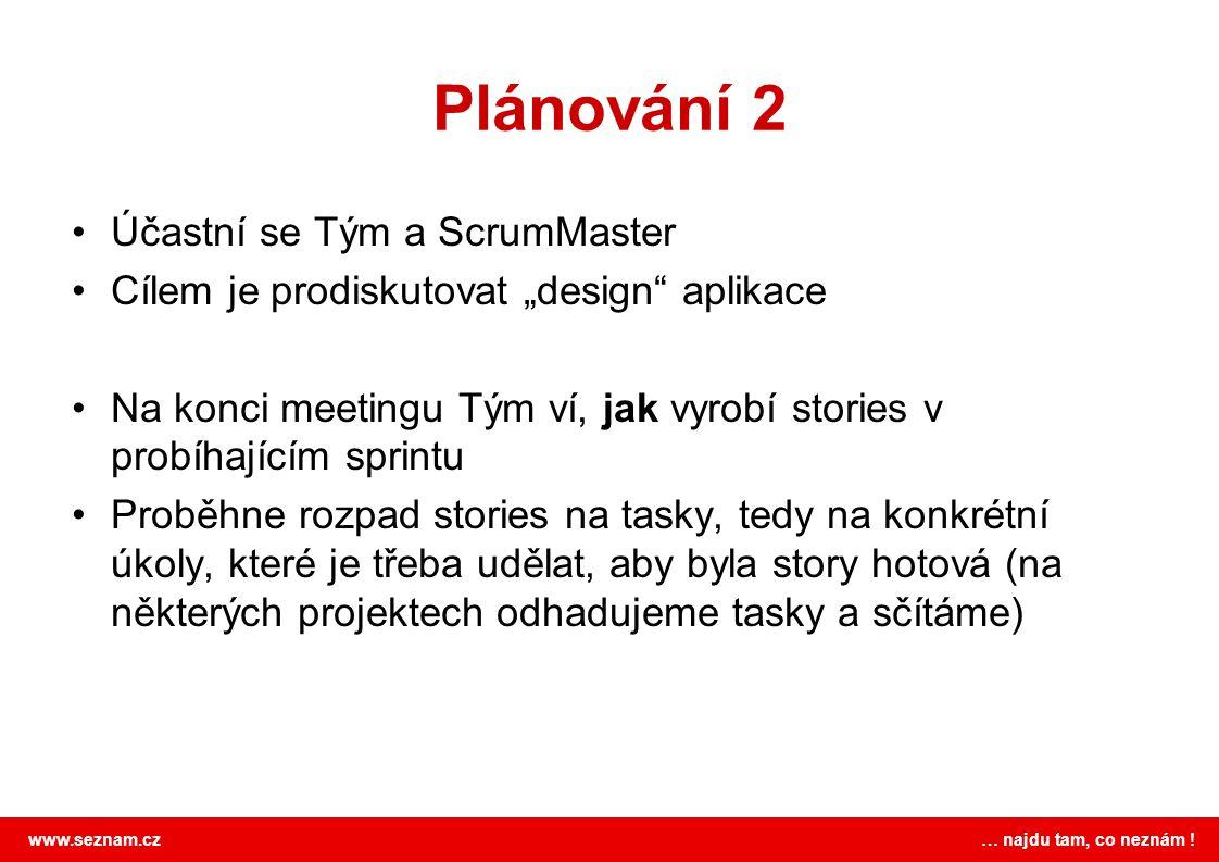 Plánování 2 Účastní se Tým a ScrumMaster