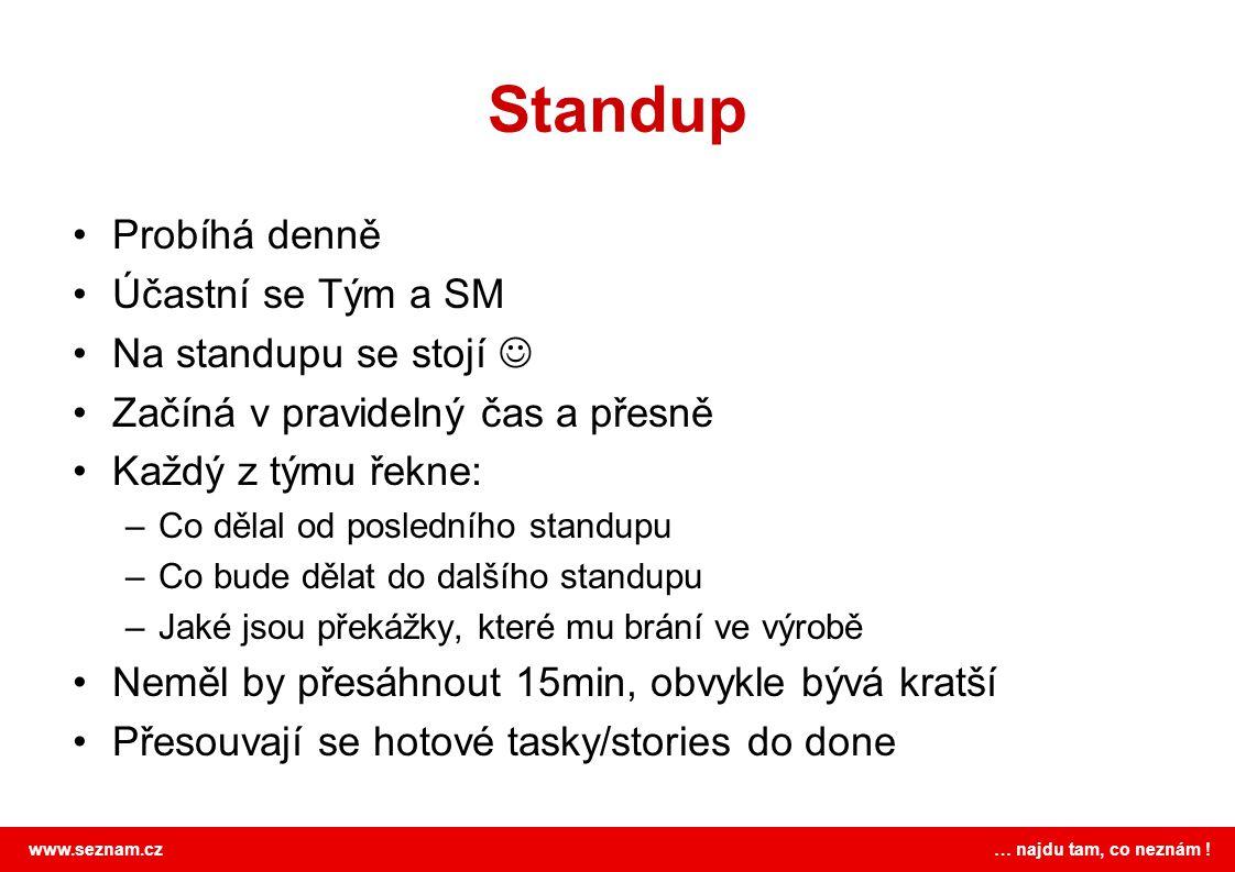 Standup Probíhá denně Účastní se Tým a SM Na standupu se stojí 