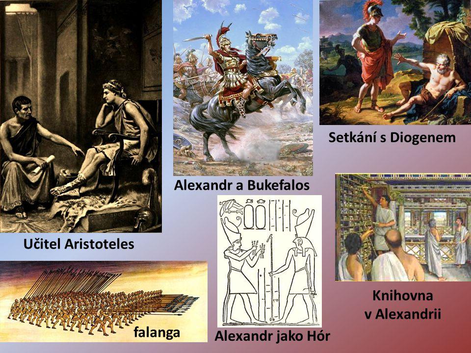 Setkání s Diogenem Alexandr a Bukefalos. Učitel Aristoteles.