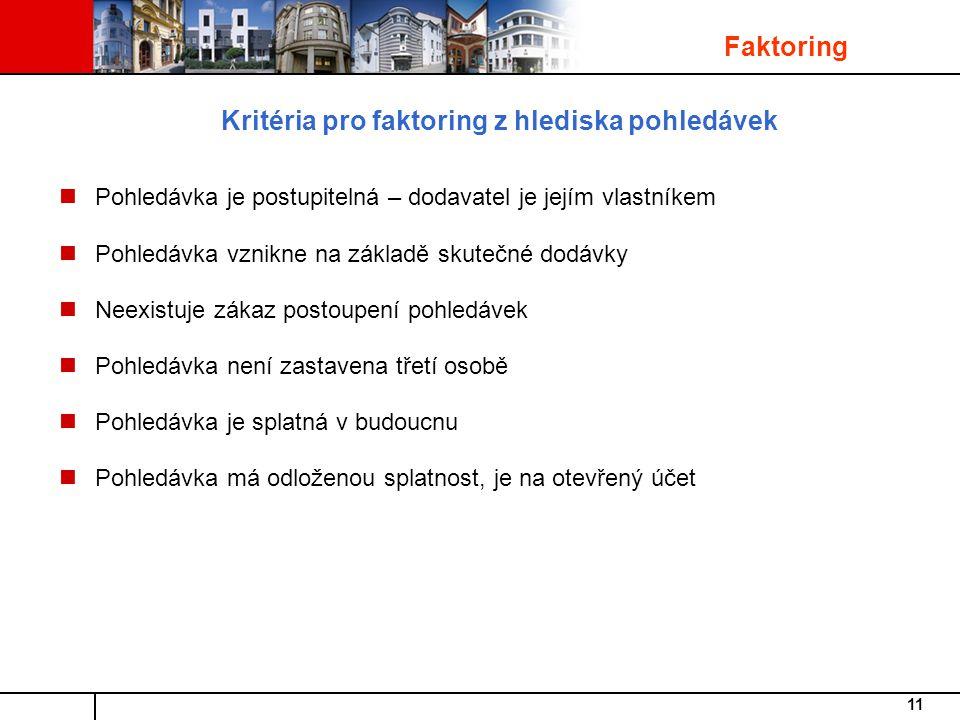 Kritéria pro faktoring z hlediska pohledávek